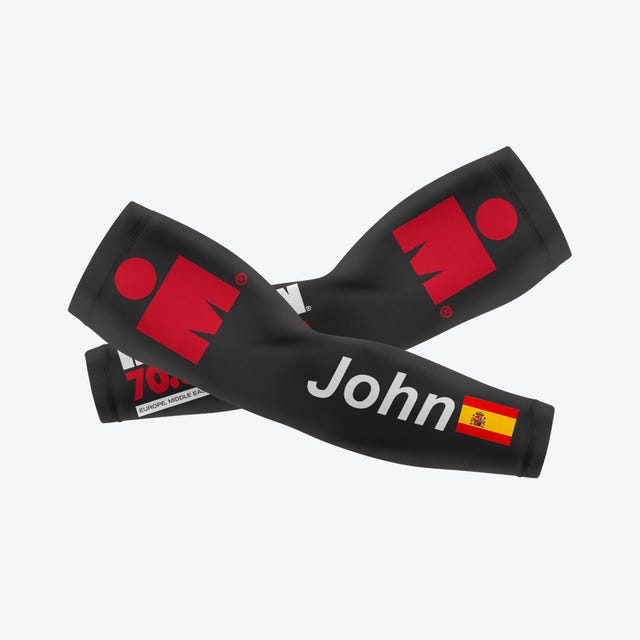 IRONMAN Custom Arm Sleeves with Nationality Flag - Black