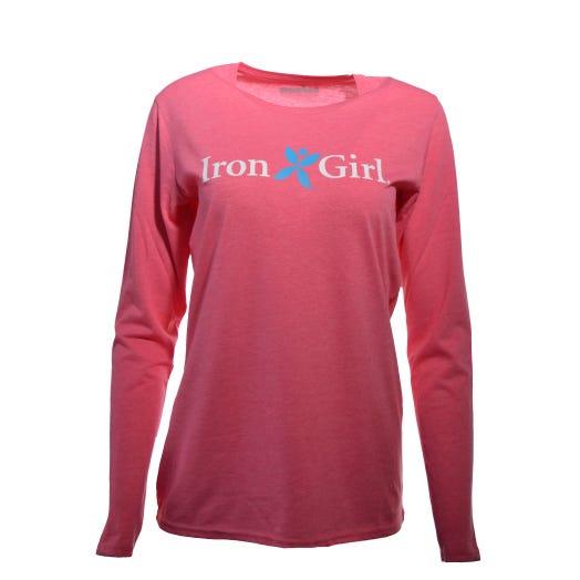 Iron Girl Women's Long Sleeve Tee - Pink Melange
