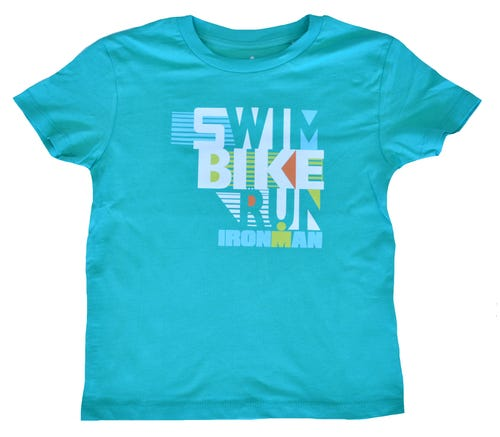 IRONMAN SWIM BIKE RUN Retro Kids' Tee - Green