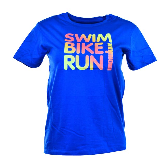 IRONMAN Kids Swim, Bike, Run Spell-out Tee-Blue