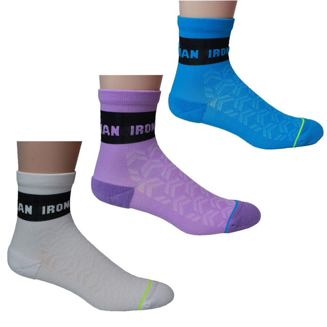 IRONMAN VIBE CYCLE SOCK 3PK - BLUE, PURPLE, WHITE - MEDIUM