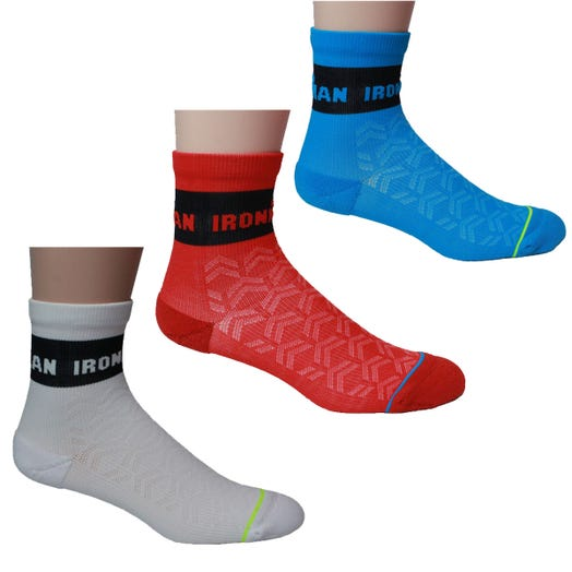 IRONMAN VIBE CYCLE SOCK 3PK - BLUE, RED, WHITE - LARGE