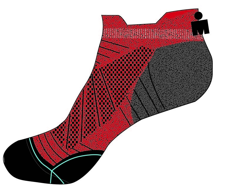 IRONMAN HYPE NO SHOW RUN SOCK - RED