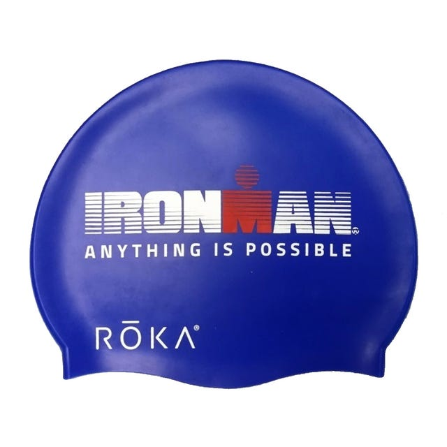 "IRONMAN ROKA ""Anything Is Possible""  Silicone Swim Cap - Royal Blue"