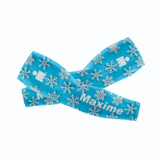 IRONMAN CUSTOM ARM SLEEVES - Holiday Blue Snowflakes