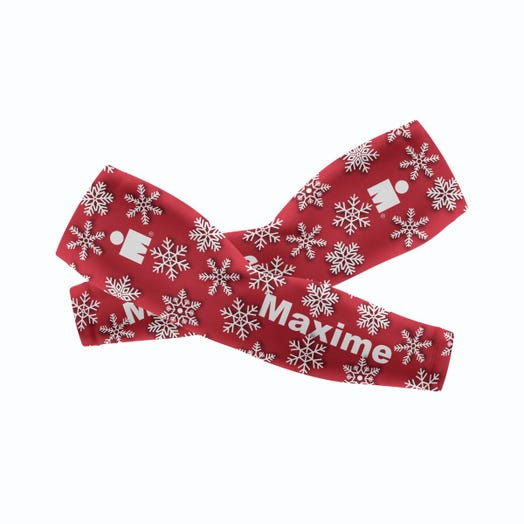 IRONMAN CUSTOM ARM SLEEVES - Holiday Red Snowflakes