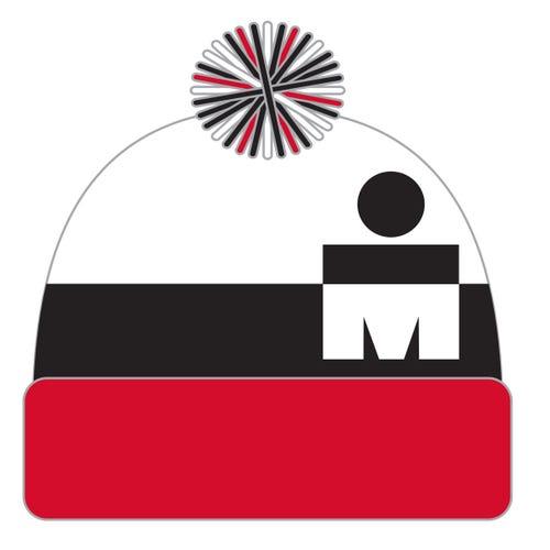 IRONMAN MDOT POM POM BEANIE BLACK/RED
