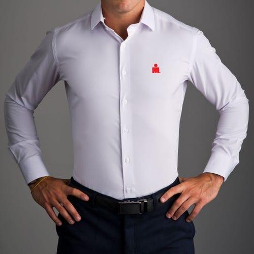 IRONMAN MDOT State & Liberty Solid White Dress Shirt