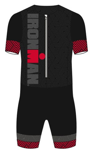 IRONMAN Craft Men's Short Sleeve Tri Suit-Black/Red