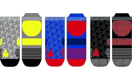 IRONMAN Motion No Show Sock 3pk - Grey, Blue, Black - Large