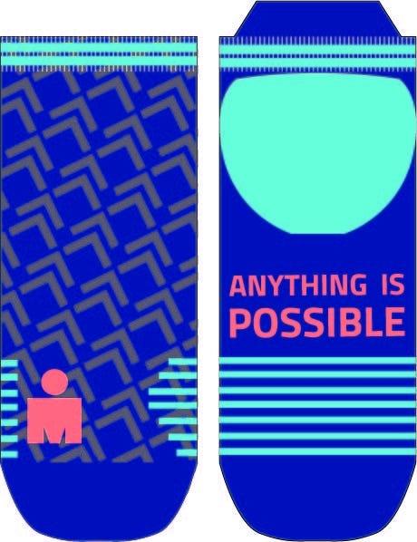 IRONMAN Motion No Show Sock - Blue - Medium
