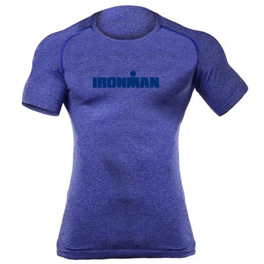 IRONMAN MEN'S SPELLOUT BODY MAPPING SHORT SLEEVE TECH ROYAL
