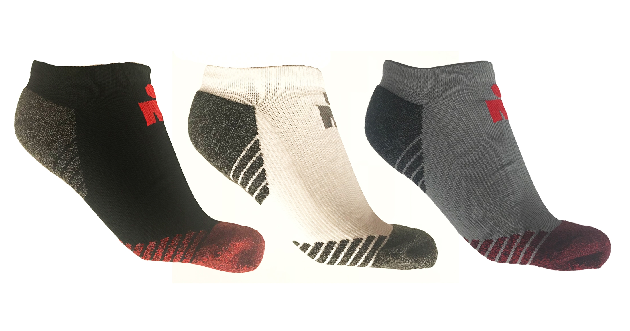 IRONMAN NO SHOW SOCK 3 PACK - Grey, White, Black