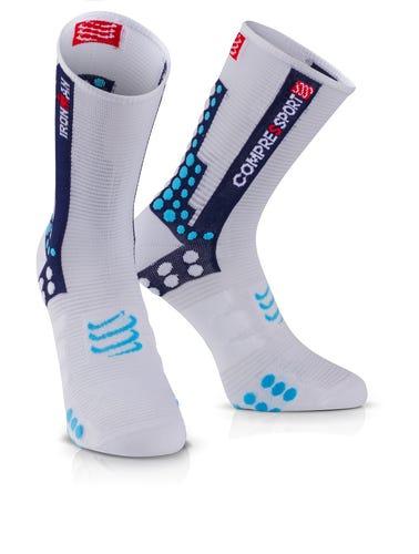 IRONMAN COMPRESSPORT Pro Racing Socks Bike - White Blue