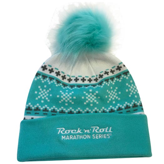 Rock N Roll Marathon Series FUR POM POM BEANIE BLUE