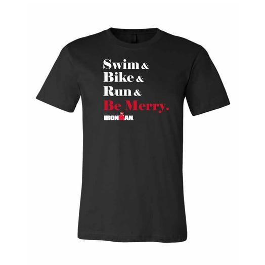 IRONMAN Men's SWIM BIKE RUN BE MERRY Tee - Black
