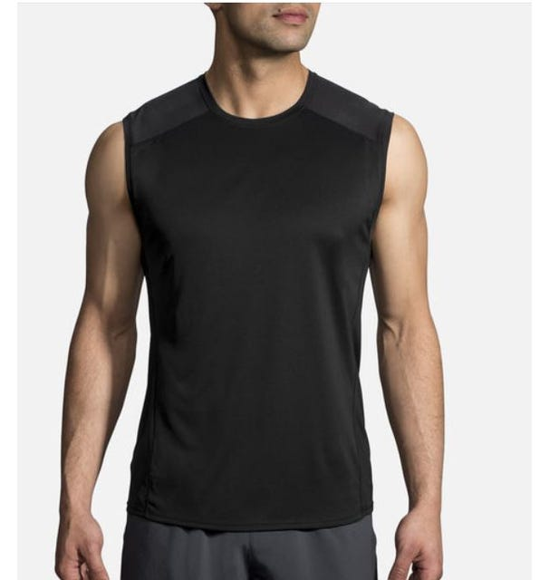 Brooks Running Men's Stealth Sleeveless Top - Black/Asphalt