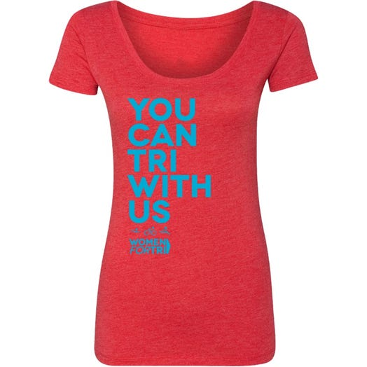 Women For Tri - You Can Tri with US Scoop Neck Tee - Red