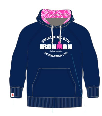 IRONMAN Women's Swim Bike Run Hoodie - Navy